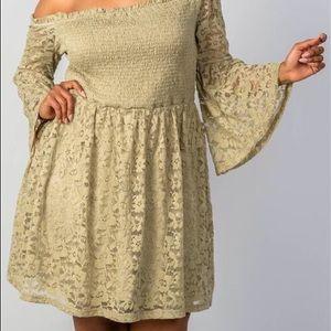 Dresses & Skirts - Boho Sage Floral Lace Off-the-Shoulder Plus Size